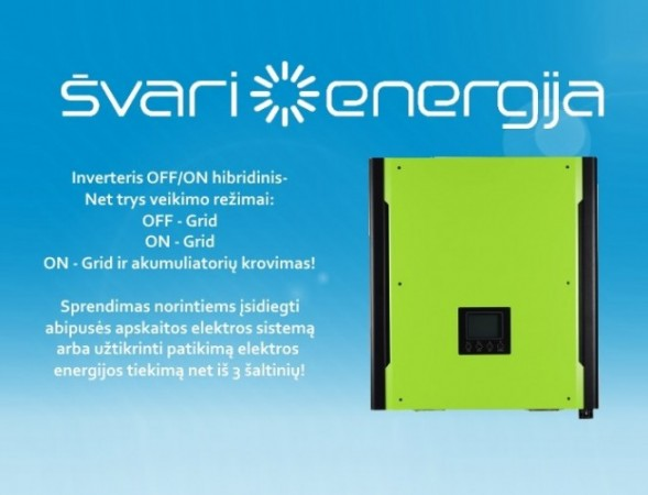 Inverteris OFF/ON Grid – hibridinis 3 kW ir 4 kW