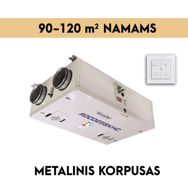 rekuperatorius namams 90-120 m2 METALINIS KORPUSAS